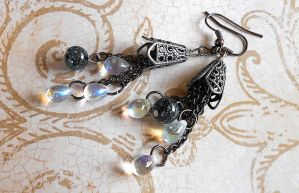 SOLD OUT: Teardrop Chandelier Beaded Earrings by random-wish