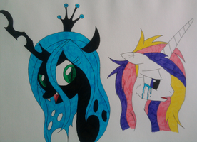 Queen Chrysalis and Cadence by evilFURRY