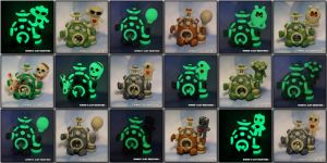 Polymer Clay Robots - Glow In The Dark by KIMMIESCLAYKREATIONS