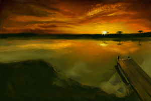 Day 05 - Quick painting of a landscape - WIP 01 by dendorrity