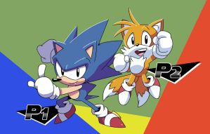 Two Players Sonic n Tails by LeatherRuffian