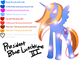 Mary Sue Pony OC Meme - President Blue Lunchtime by DragonwolfRooke