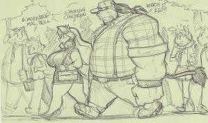 Lunchtime post it doodle: MR AND MRS BULL by ShoNuff44