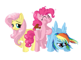 Fluttershy, Pinkie Pie and Rainbow Dash finished by Celyann