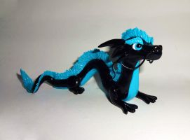 Black and Blue Chinese Dragon by ByToothAndClaw