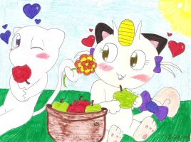 Awww Mew and meowth by Catakatoshi