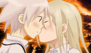 Soul and Maka Kiss by gone-phishing
