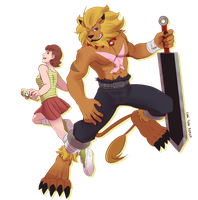Jeri and Leomon - Xros Hunters by KingdomBlade