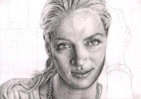 'Uma Thurman' WIP 70% by Pen-Tacular-Artist