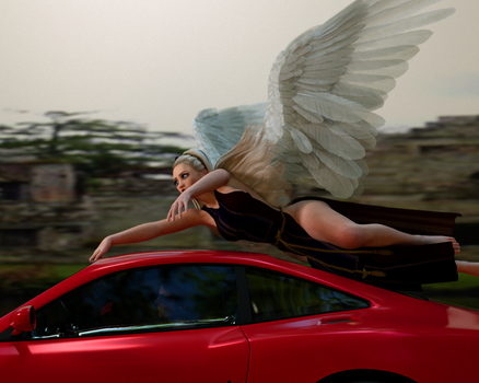 Don't drive faster than your gardian angel can fly by Groovy052