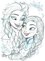 Elsa and Anna by tombancroft