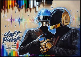 Daft Punk -colored pencil- by Rakisan-Art