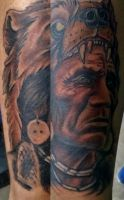 Native American Portrait with Neo-Traditional Bear by INK-SL1NG3R