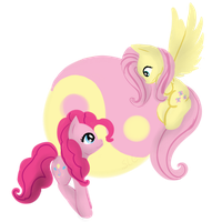 mlp pinkie pie and fluttershy yin yang by shadowwolffox