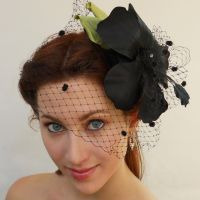 Black Hibiscus Hairpiece by tracyholcomb