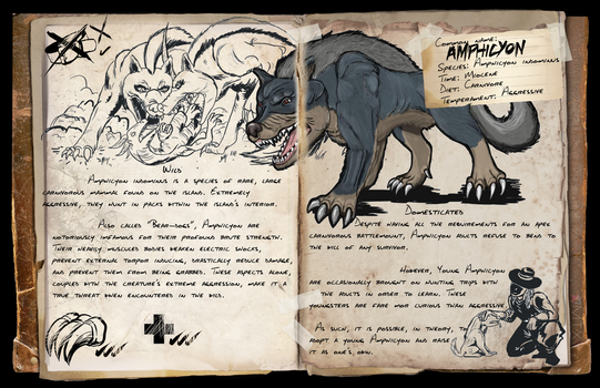 ARK- Additional Creatures Mod- Amphicyon Dossier by Crystaldemon93