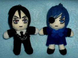 Sebastian Michaelis and Ciel Phantomhive Keychains by TashaAkaTachi