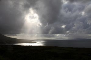 sunrays over kerry bay-Ireland by twilight-son