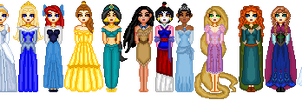 Current Disney Princess Lineup by katcombs