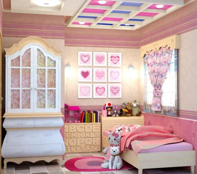 PINK BEDROOM FOR A BABY GIRL by rj-king