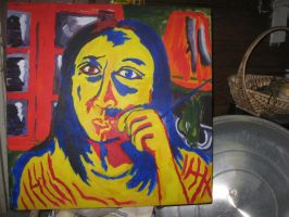 Self Portrait in Yellow, Red and Blue by InsanePaintStripes
