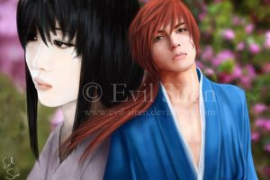 Kenshin and Tomoe by Evil-Siren