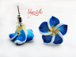 Blue polymer clay flowers post earrings by Benia1991