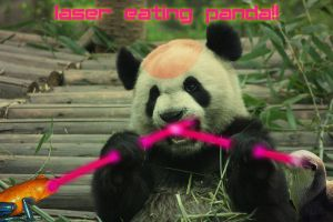 Laser eating panda by scribblehscribbleh