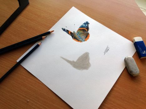 Butterfly color pencil drawing by AtomiccircuS