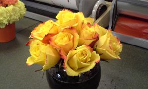 Flame Tipped (Yellow) Rose Bowl by pippierafrostlin