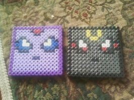 Espeon and Umbreon Coasters by GaneneTheDefendra
