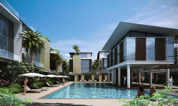 a bungalow complex, pool view by acest