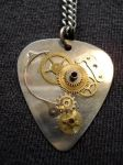 Steampunk Guitar Pick Necklace by markfellows