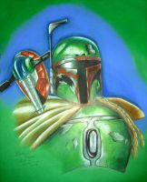 Boba Fett and Slave I by bloodredsandman