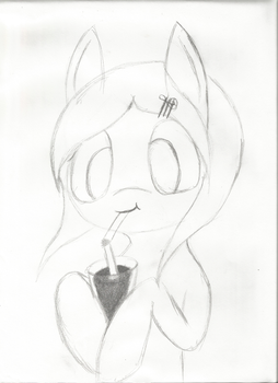 Random Pony sipping juice by HolotheCat