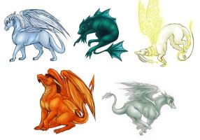 Some dragons. by Lunaromon