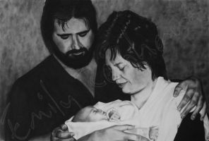 Merry X-Mas Mom 2011 - Charcoal Dry-Painting by TreeClimber