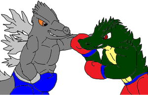 Boxing Godzilla vs Vandar by starfoxfan111