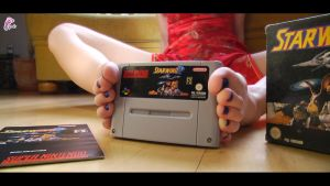 Unboxing SNES Game with feet by JelisaRose-Feet