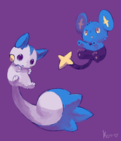 shinx and pachirisu by kori7hatsumine