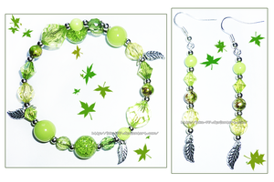Hand Made Green Leaf Charm Bracelet and Earrings by izka-197