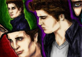 Edward Cullen Collage Color by LucyRedfield