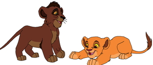 FREE Kovu and Kiara cubs base- 1 by claramalka