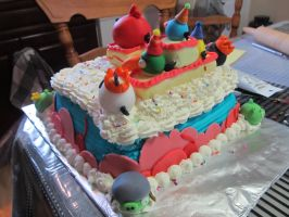Angry Birds Birthday Cake - the back by Leara