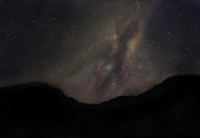 My painting of the Milky Way in the night sky. by GaucheDroite