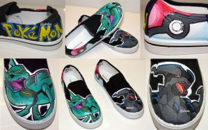 Pokemon Custom Painted Shoes by Drodengera