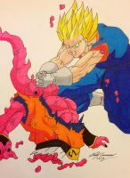 Vegito is too much for Buuhan by gokujr96