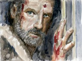 Rick The Walking Dead Sketch Card by Stungeon