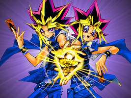 Yugi and Yami Wallpaper by darthkiba52
