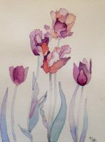 Purple Tulips by Sketch-on-a-wall